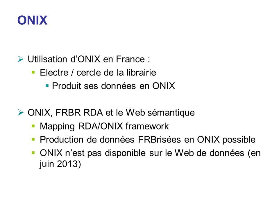 ONIX Utilisation d'ONIX en France : Electre / cercle de la librairie