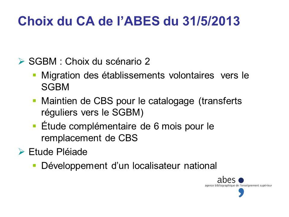 Choix du CA de l'ABES du 31/5/2013