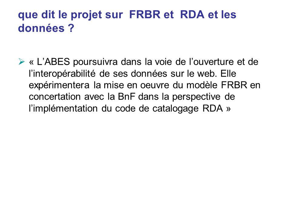 que dit le projet sur FRBR et RDA et les données