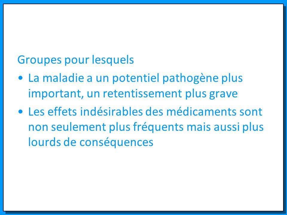 Groupes pour lesquels La maladie a un potentiel pathogène plus important, un retentissement plus grave.