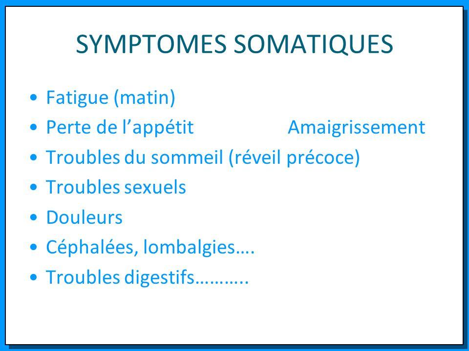SYMPTOMES SOMATIQUES Fatigue (matin) Perte de l'appétit Amaigrissement
