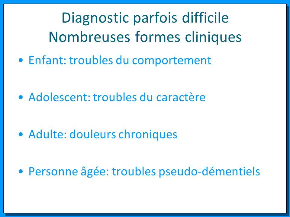 Diagnostic parfois difficile Nombreuses formes cliniques