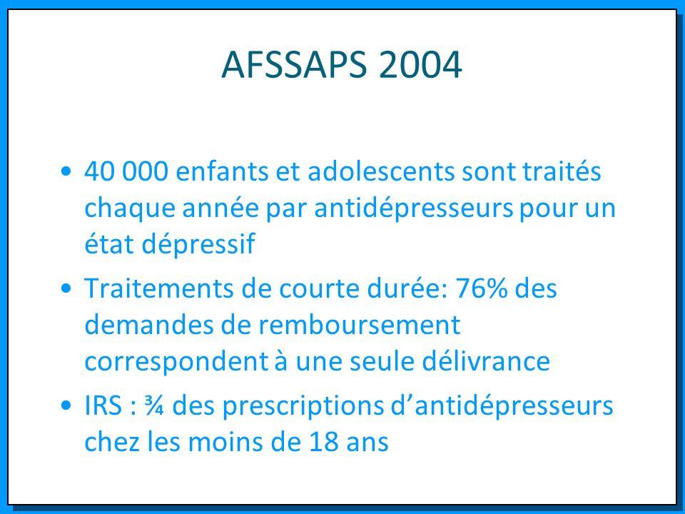 AFSSAPS 2004 40 000 enfants et adolescents sont traités chaque année par antidépresseurs pour un état dépressif.