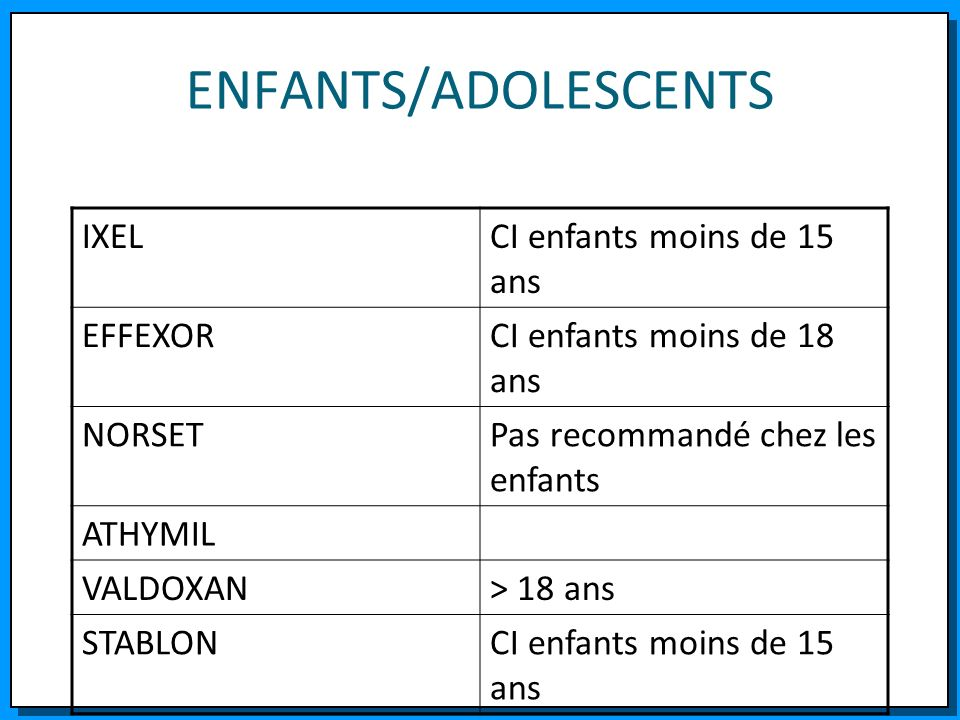 ENFANTS/ADOLESCENTS IXEL CI enfants moins de 15 ans EFFEXOR