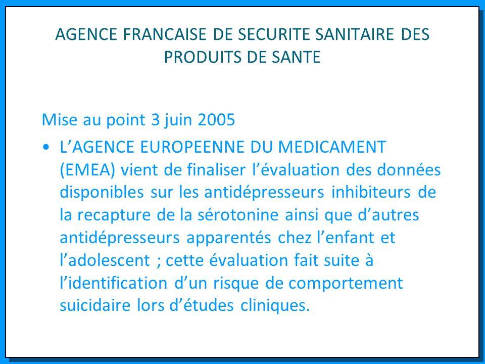 AGENCE FRANCAISE DE SECURITE SANITAIRE DES PRODUITS DE SANTE