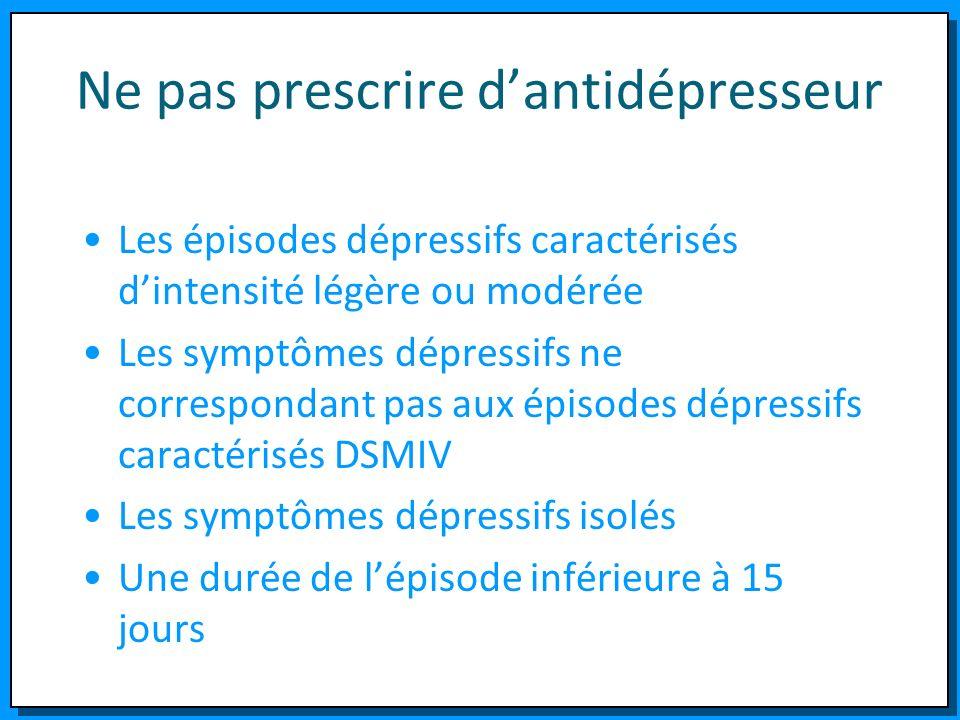 Ne pas prescrire d'antidépresseur