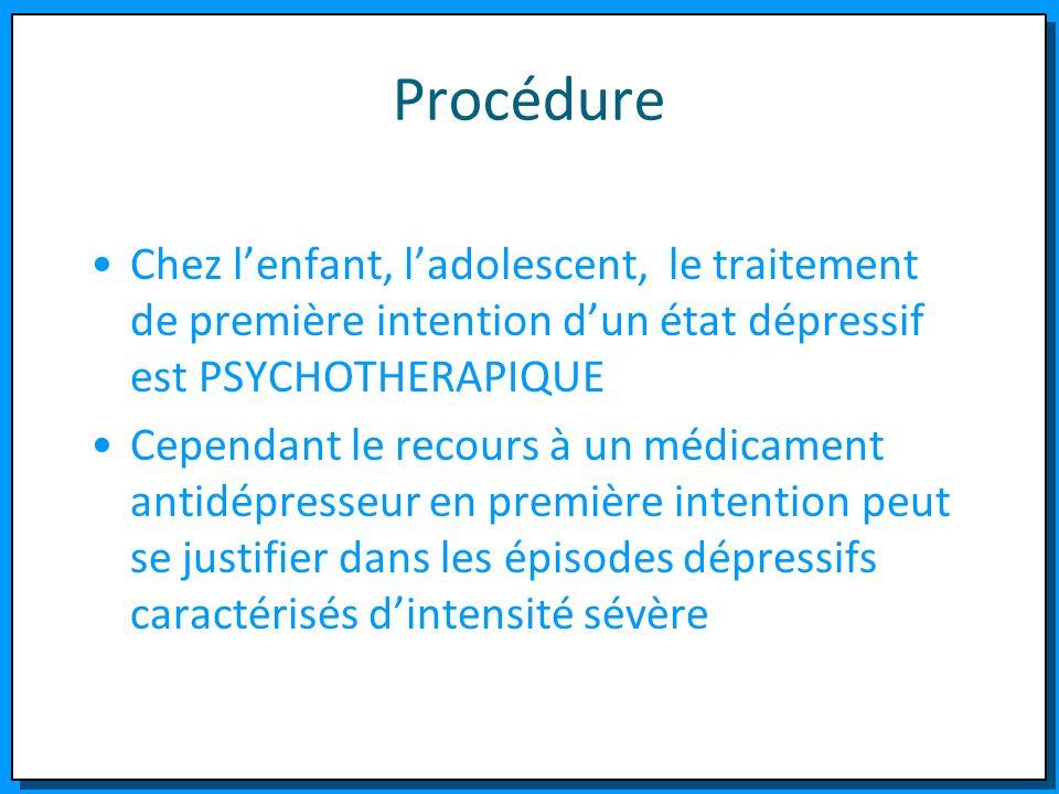 Procédure Chez l'enfant, l'adolescent, le traitement de première intention d'un état dépressif est PSYCHOTHERAPIQUE.