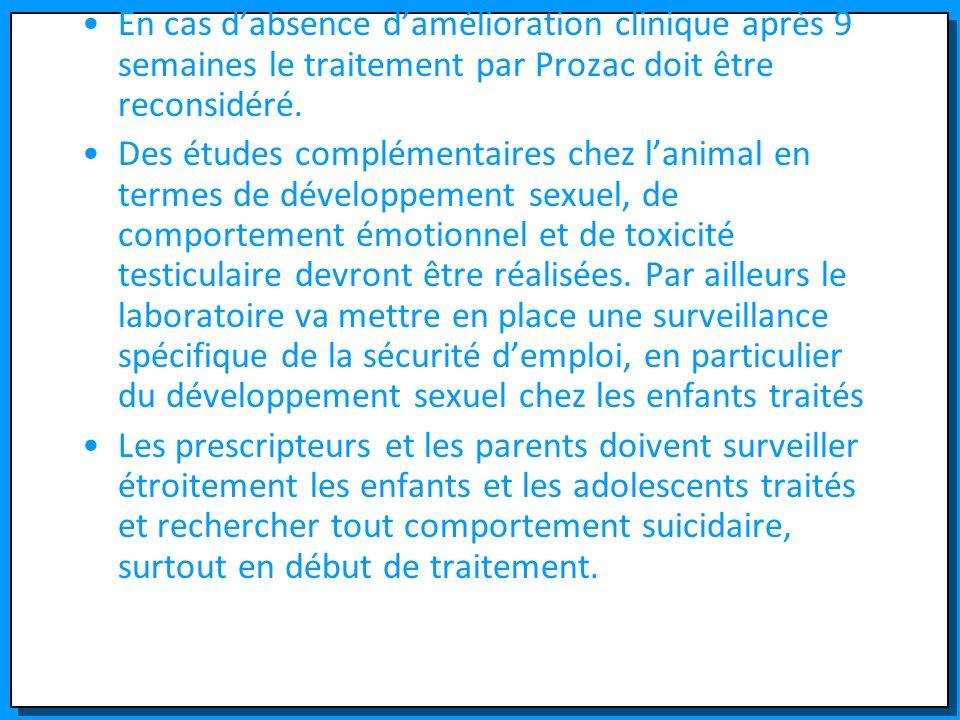 En cas d'absence d'amélioration clinique après 9 semaines le traitement par Prozac doit être reconsidéré.