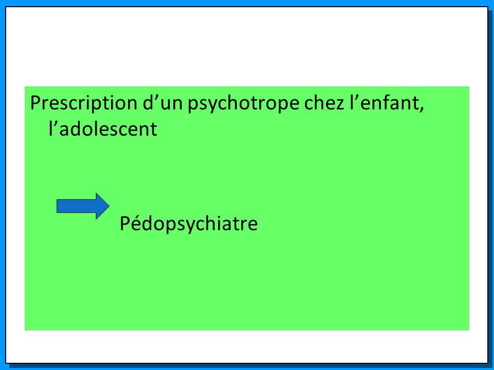 Prescription d'un psychotrope chez l'enfant, l'adolescent