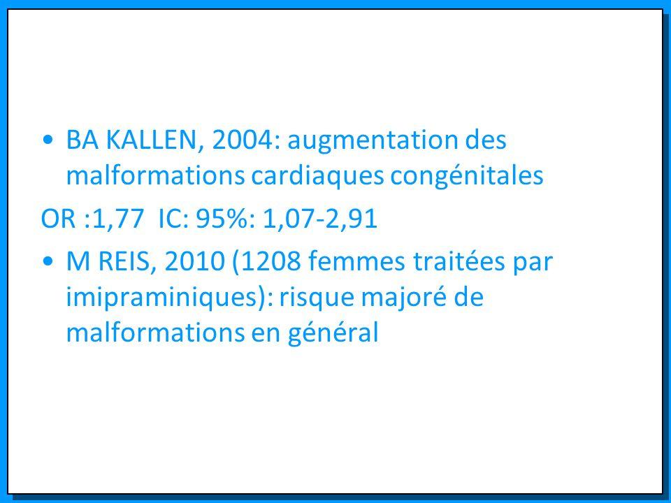 BA KALLEN, 2004: augmentation des malformations cardiaques congénitales