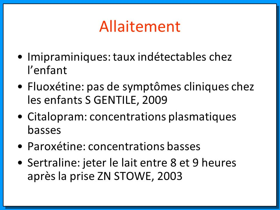 Allaitement Imipraminiques: taux indétectables chez l'enfant
