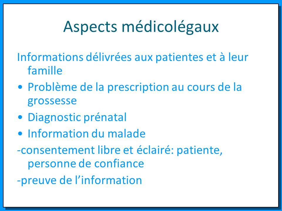 Aspects médicolégaux Informations délivrées aux patientes et à leur famille. Problème de la prescription au cours de la grossesse.