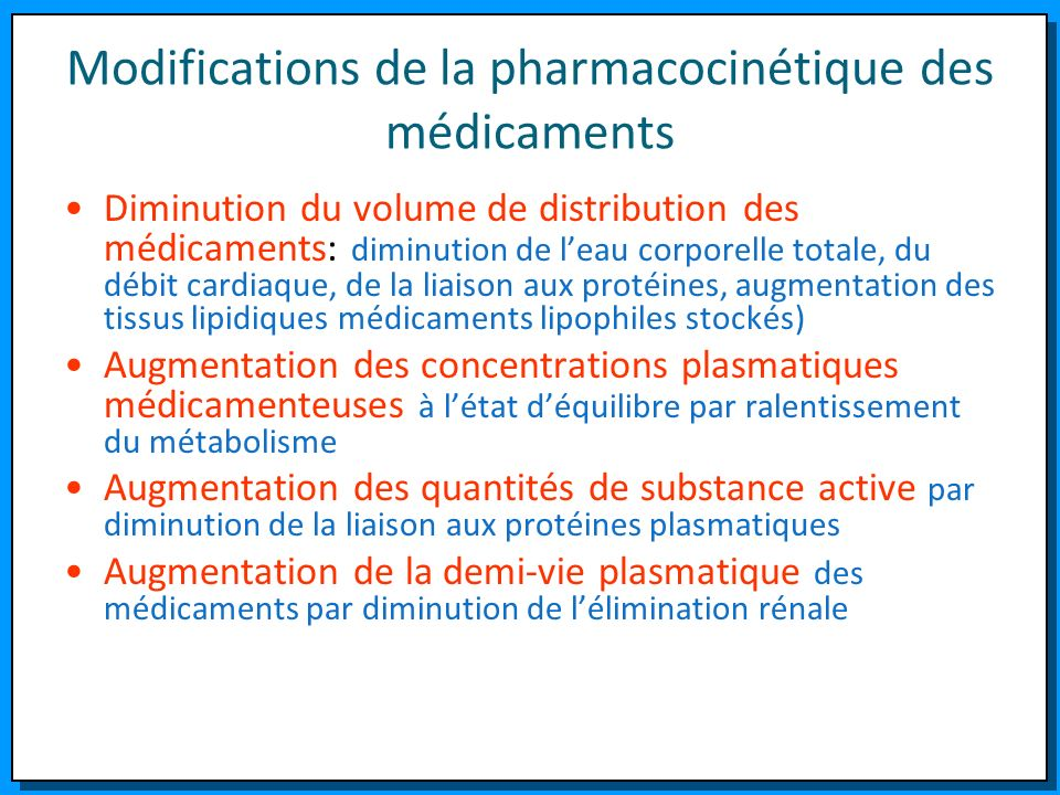 Modifications de la pharmacocinétique des médicaments