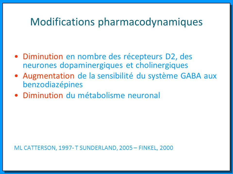 Modifications pharmacodynamiques