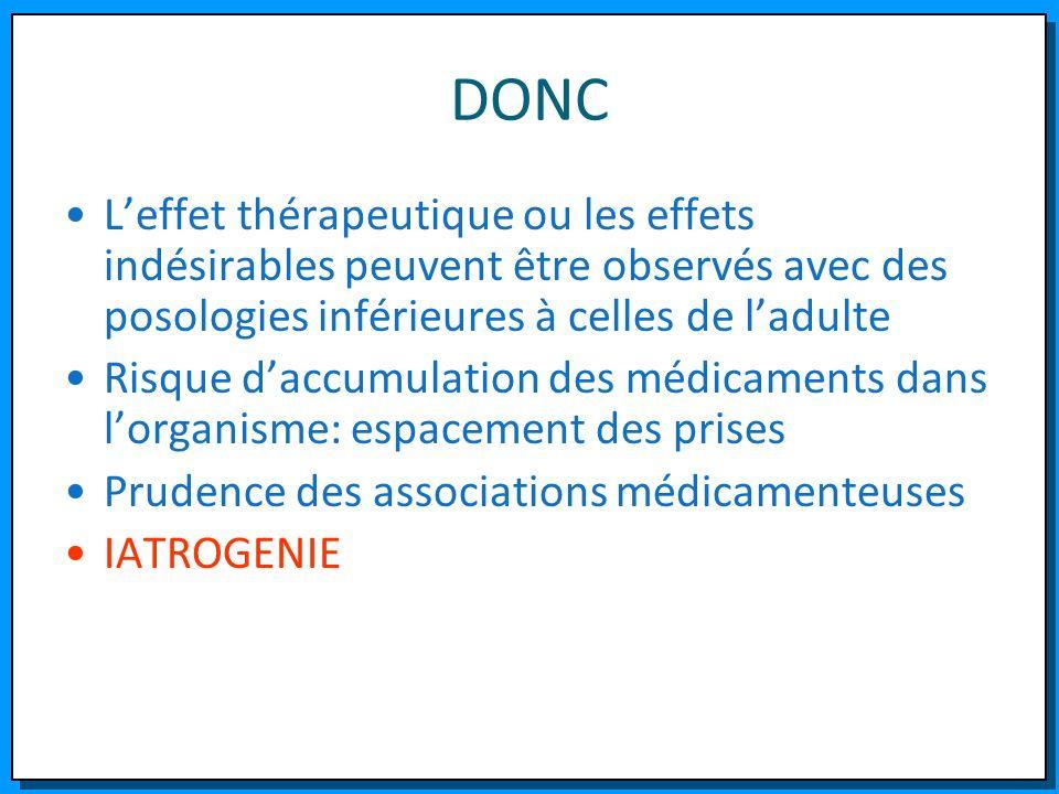 DONC L'effet thérapeutique ou les effets indésirables peuvent être observés avec des posologies inférieures à celles de l'adulte.