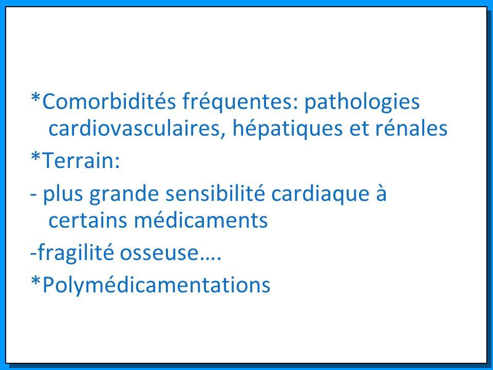 *Comorbidités fréquentes: pathologies cardiovasculaires, hépatiques et rénales