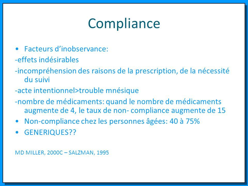 Compliance Facteurs d'inobservance: -effets indésirables