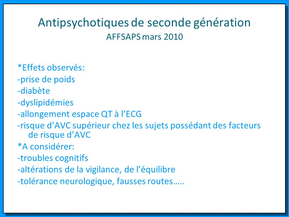 Antipsychotiques de seconde génération AFFSAPS mars 2010