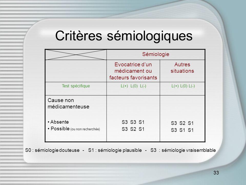 Critères sémiologiques