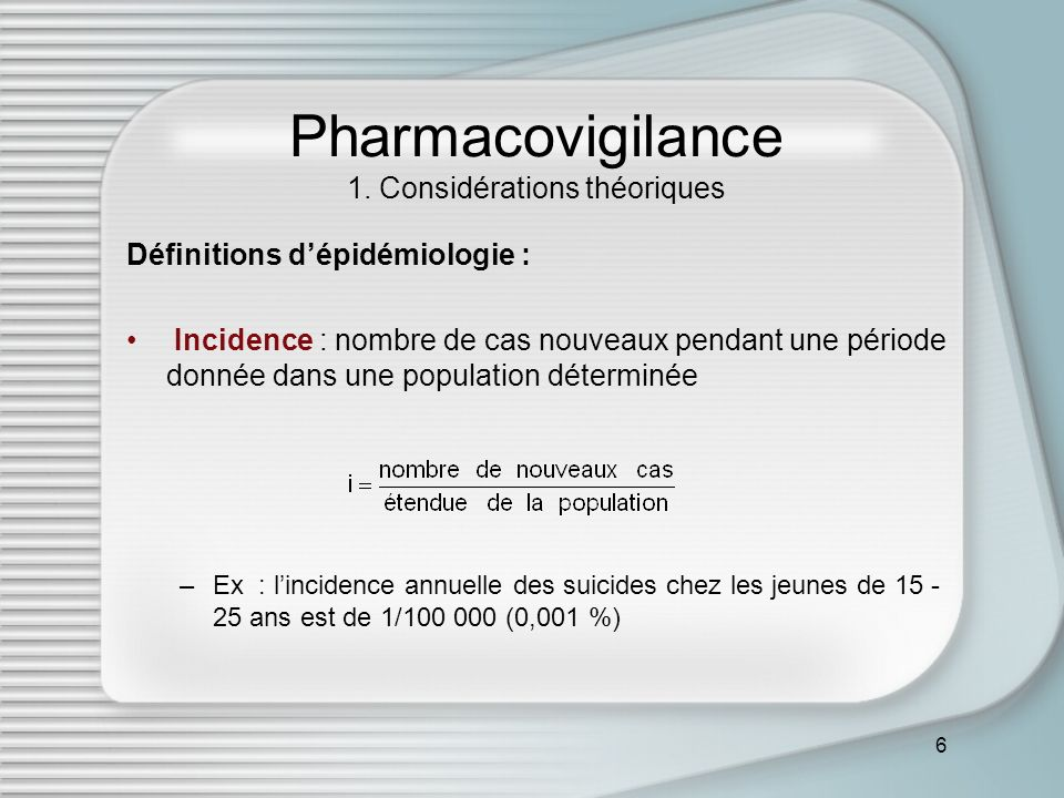 Pharmacovigilance 1. Considérations théoriques