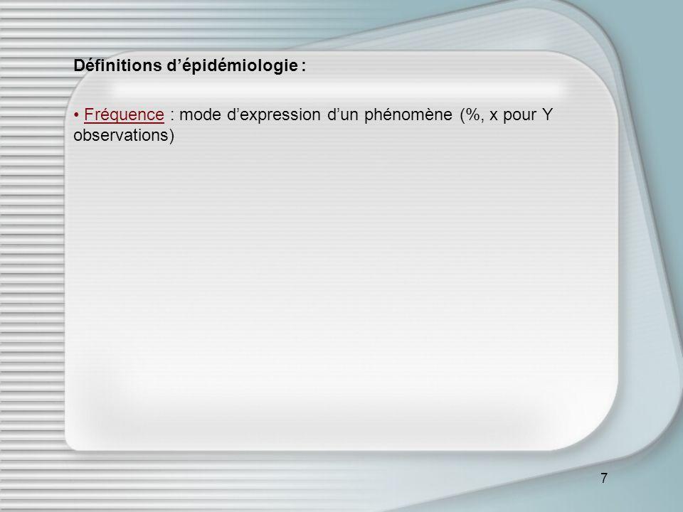 Définitions d'épidémiologie :