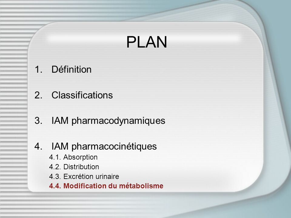 PLAN Définition Classifications IAM pharmacodynamiques