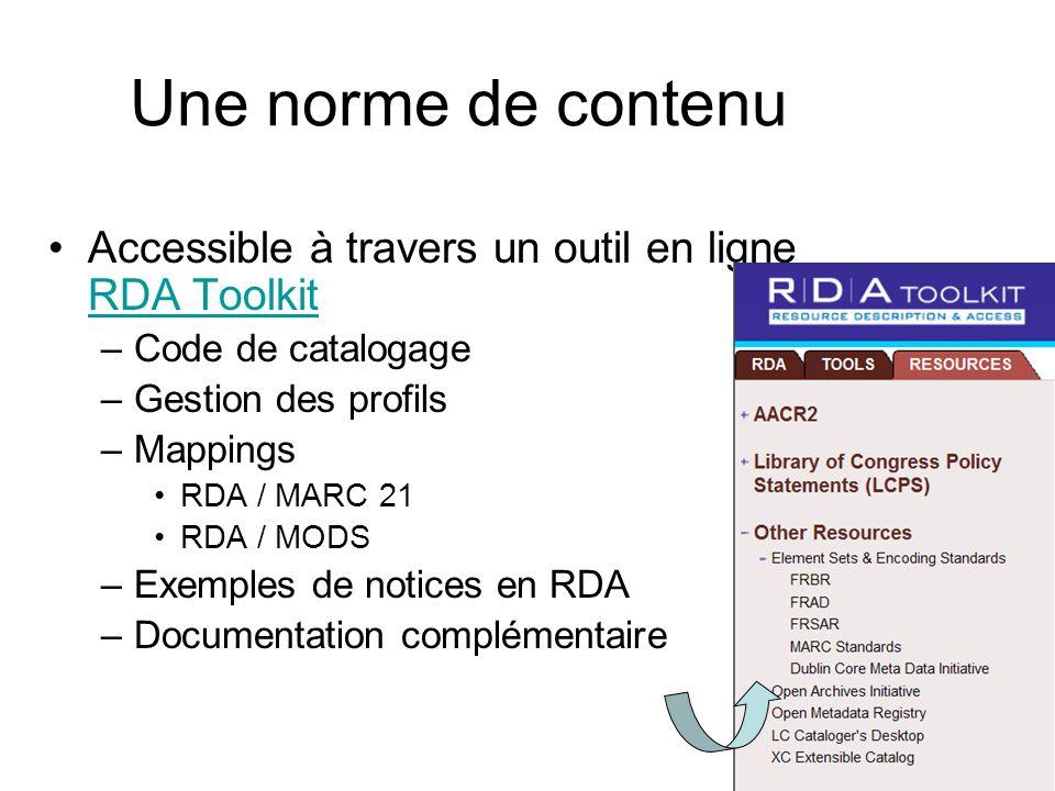 Une norme de contenu Accessible à travers un outil en ligne RDA Toolkit. Code de catalogage. Gestion des profils.