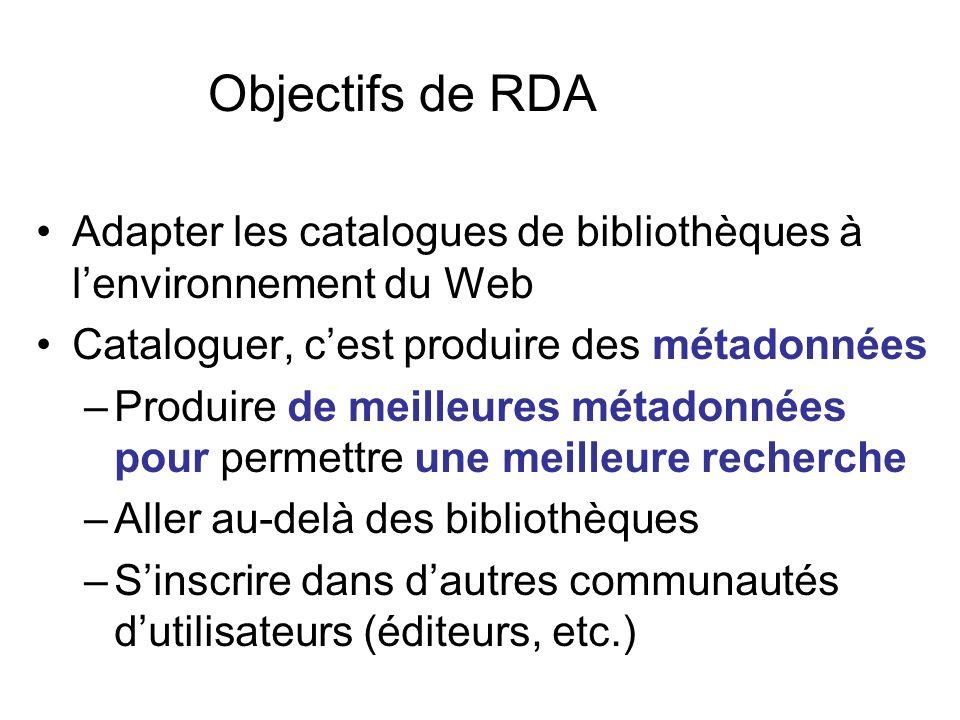 Objectifs de RDA Adapter les catalogues de bibliothèques à l'environnement du Web. Cataloguer, c'est produire des métadonnées.