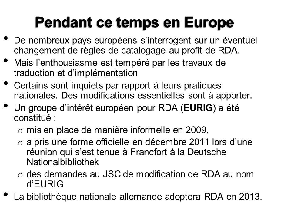 Pendant ce temps en Europe