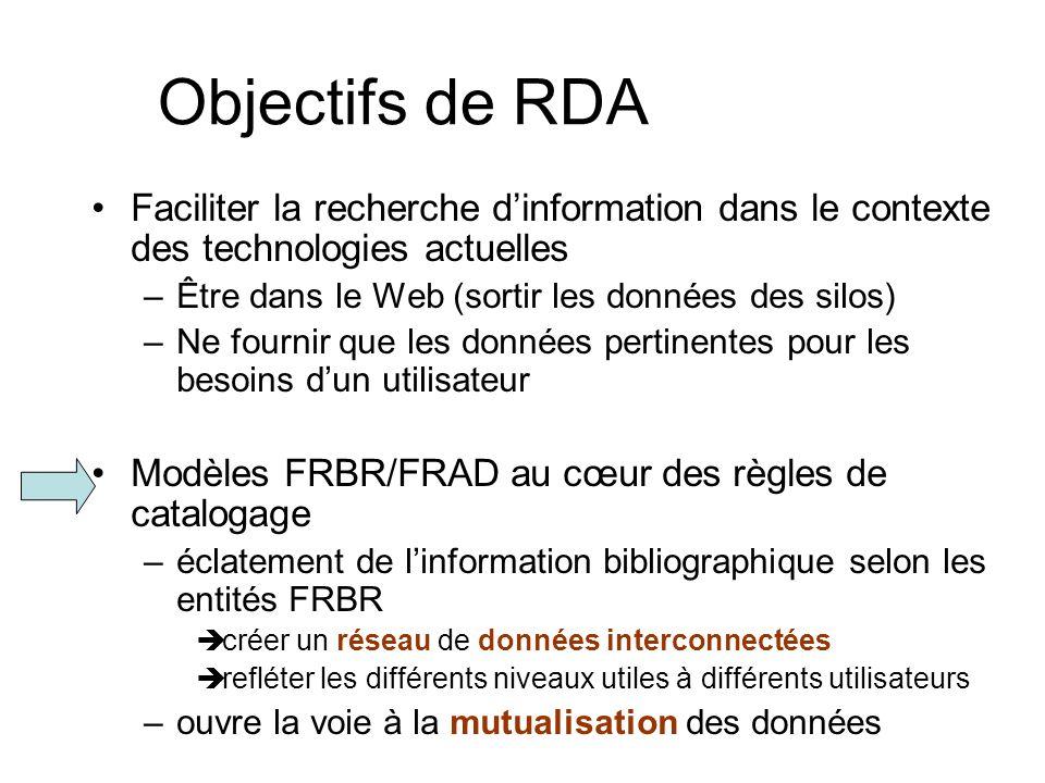 Objectifs de RDA Faciliter la recherche d'information dans le contexte des technologies actuelles. Être dans le Web (sortir les données des silos)