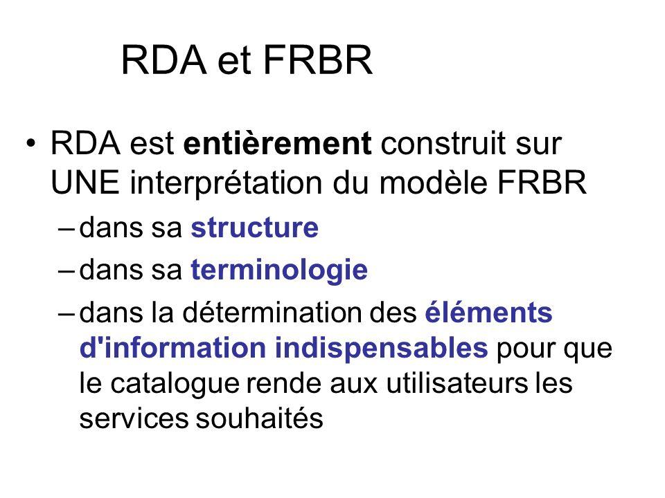 RDA et FRBR RDA est entièrement construit sur UNE interprétation du modèle FRBR. dans sa structure.