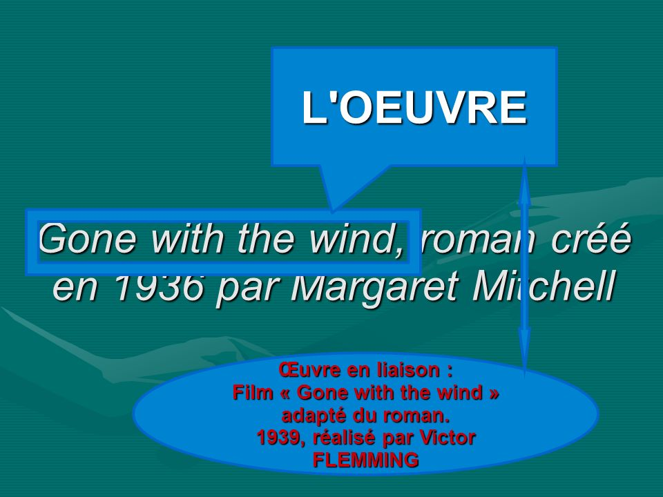 Gone with the wind, roman créé en 1936 par Margaret Mitchell