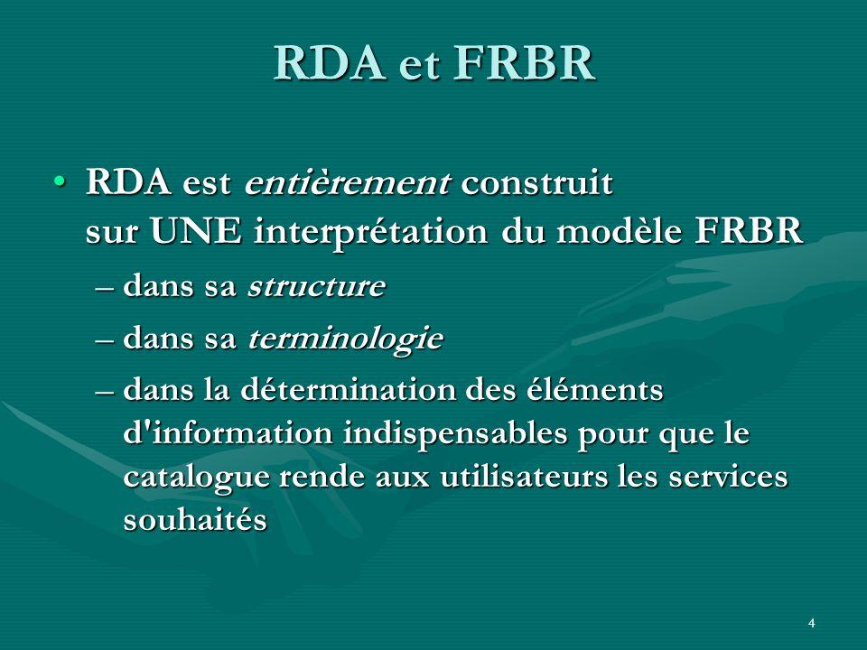 RDA et FRBRRDA est entièrement construit sur UNE interprétation du modèle FRBR. dans sa structure. dans sa terminologie.