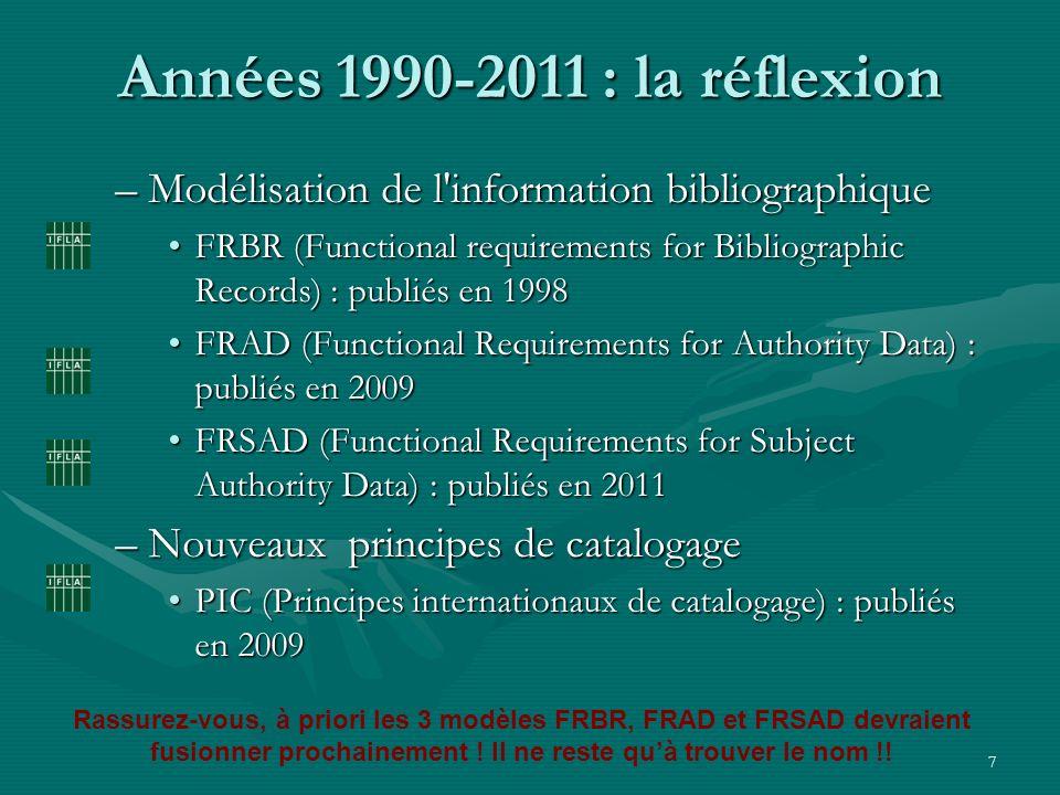 Années 1990-2011 : la réflexionModélisation de l information bibliographique.
