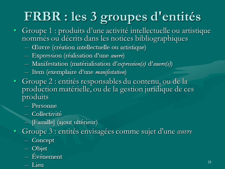 FRBR : les 3 groupes d entités