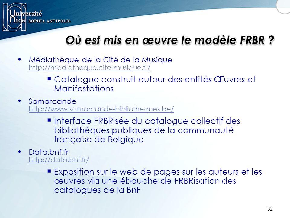 Où est mis en œuvre le modèle FRBR