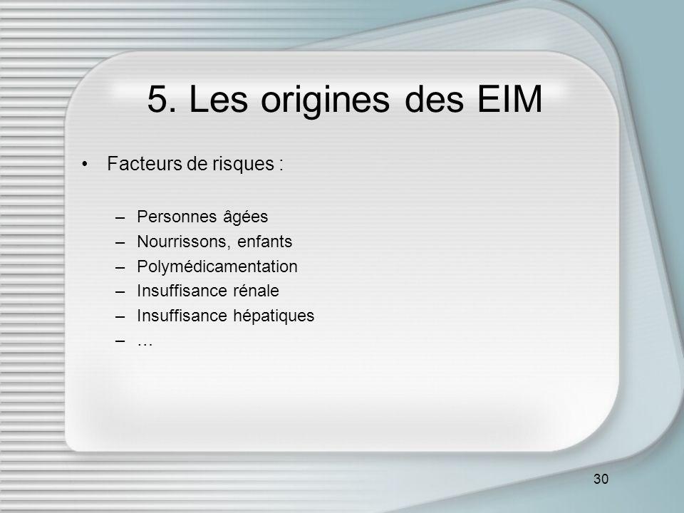 5. Les origines des EIM Facteurs de risques : Personnes âgées