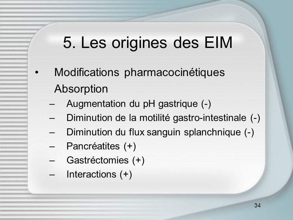 5. Les origines des EIM Modifications pharmacocinétiques Absorption