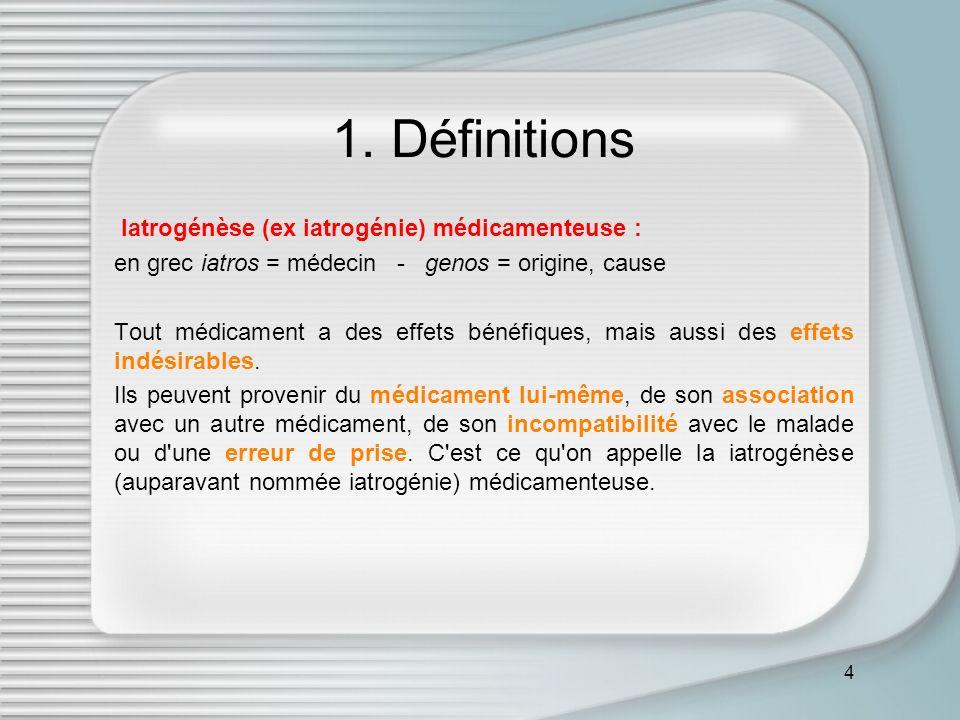 1. Définitions Iatrogénèse (ex iatrogénie) médicamenteuse :