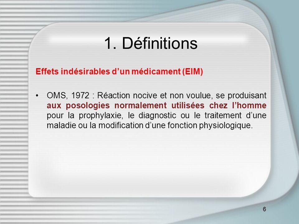1. Définitions Effets indésirables d'un médicament (EIM)