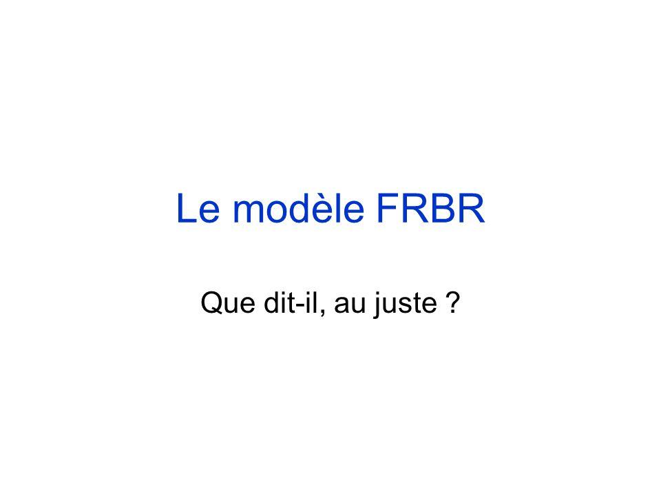 Le modèle FRBR Que dit-il, au juste