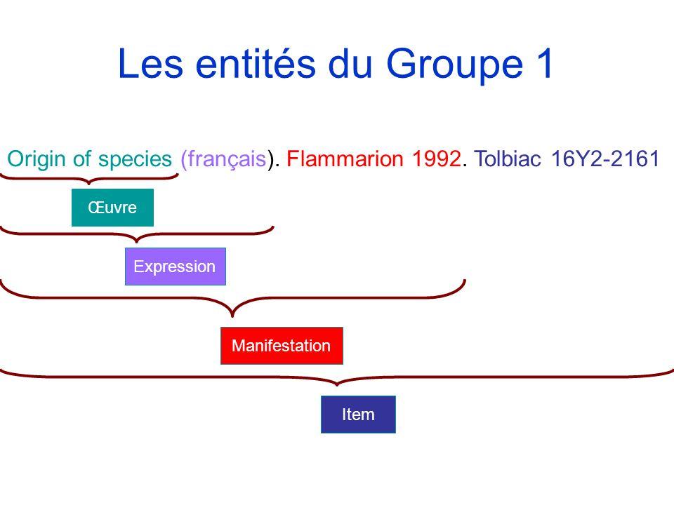 Les entités du Groupe 1 Origin of species (français). Flammarion 1992. Tolbiac 16Y2-2161. Œuvre. Expression.