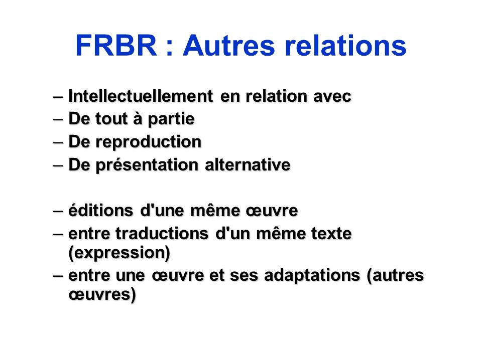 FRBR : Autres relations