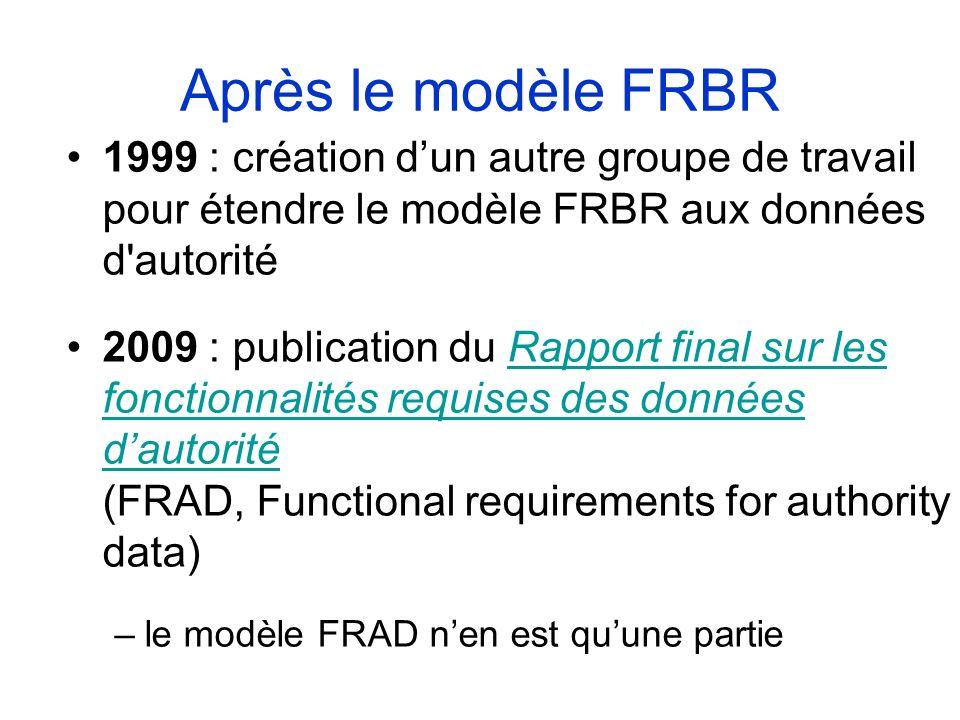Après le modèle FRBR1999 : création d'un autre groupe de travail pour étendre le modèle FRBR aux données d autorité.