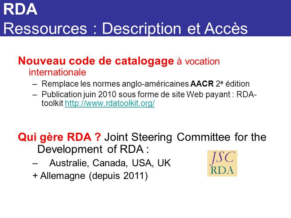 RDA RDA Ressources : Description et Accès