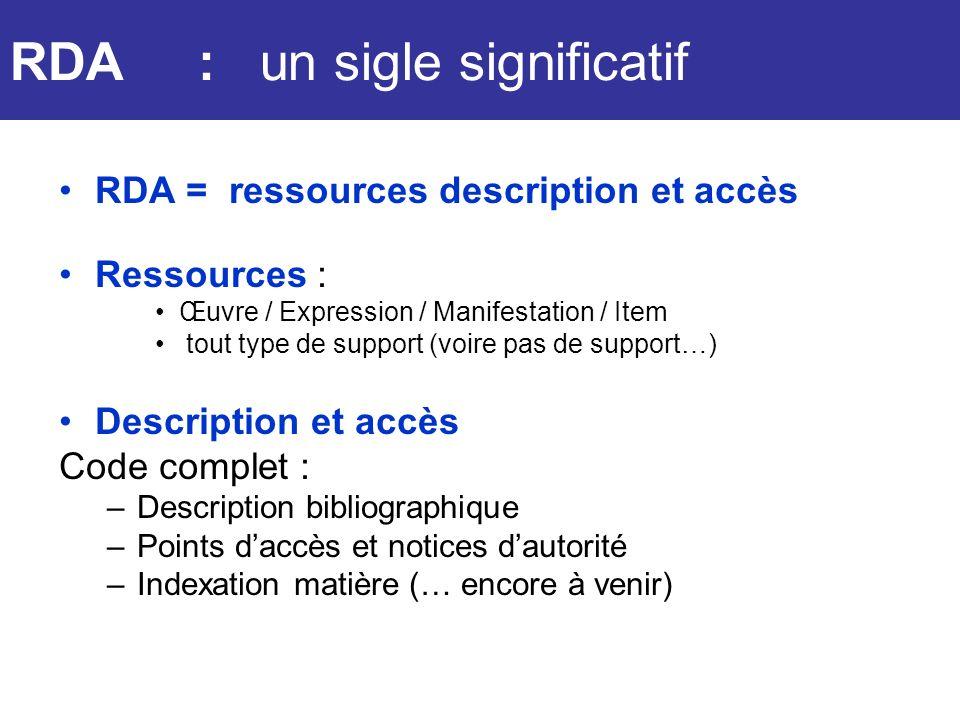RDA RDA : un sigle significatif RDA = ressources description et accès
