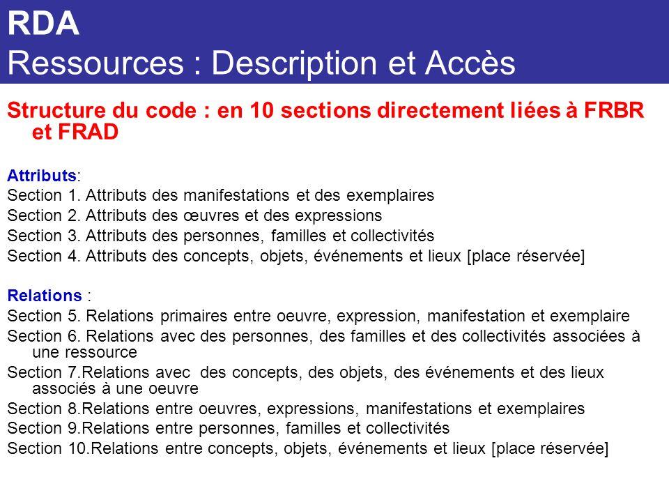 RDA Ressources : Description et Accès