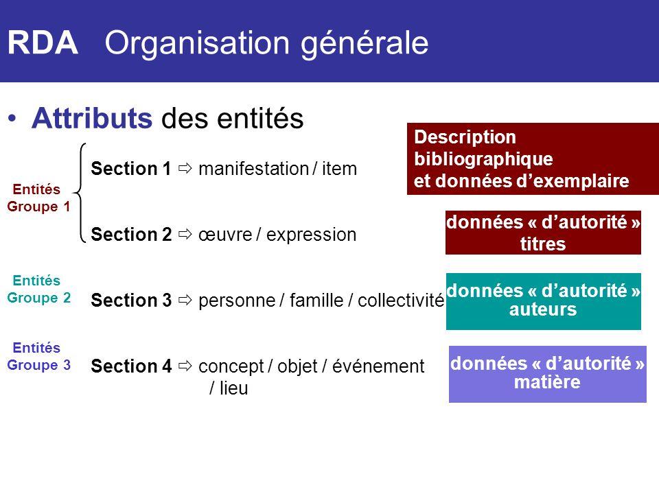 RDA Organisation générale
