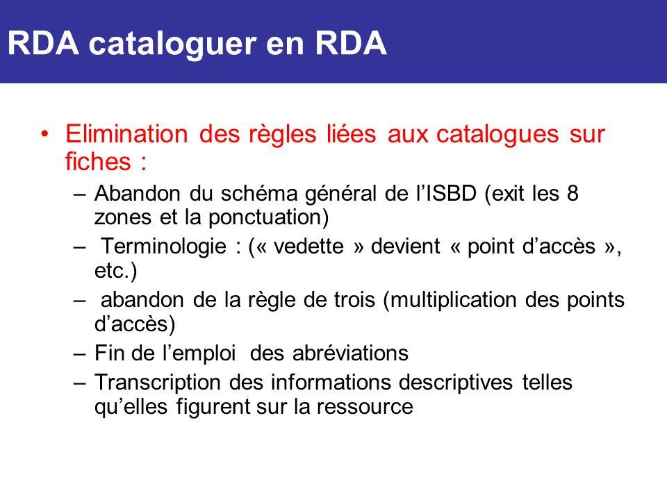RDA cataloguer en RDAElimination des règles liées aux catalogues sur fiches :