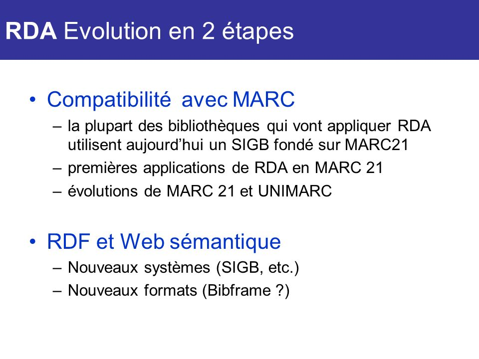 RDA Evolution en 2 étapes